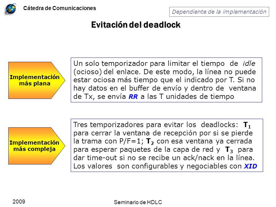 Cátedra de Comunicaciones 2009 Seminario de HDLC Evitación del deadlock Implementación más plana Un solo temporizador para limitar el tiempo de idle (