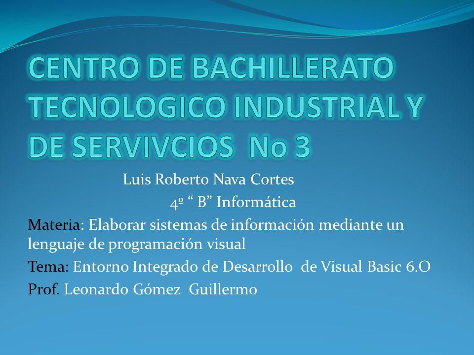 Luis Roberto Nava Cortes 4º B Informática Materia: Elaborar sistemas de información mediante un lenguaje de programación visual Tema: Entorno Integrad