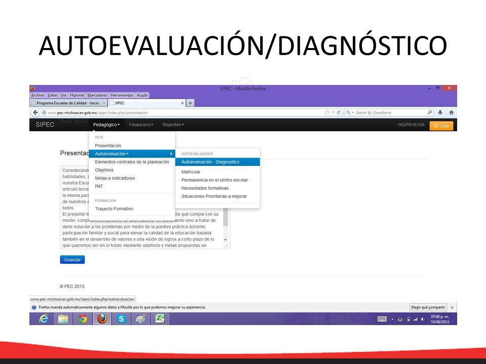 AUTOEVALUACIÓN/DIAGNÓSTICO