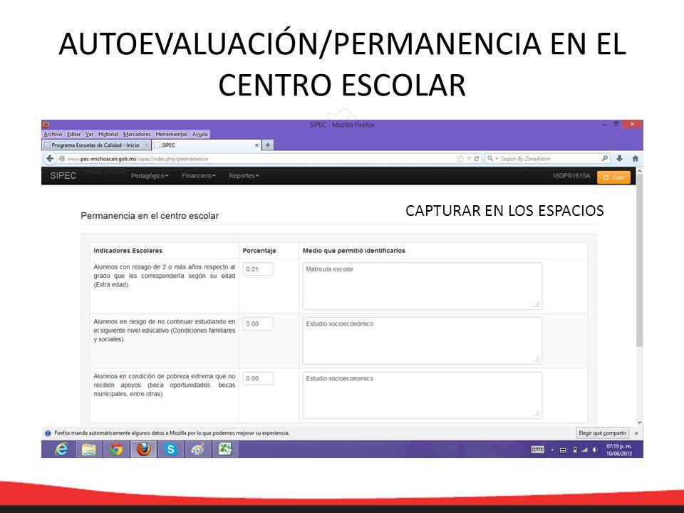 AUTOEVALUACIÓN/PERMANENCIA EN EL CENTRO ESCOLAR CAPTURAR EN LOS ESPACIOS
