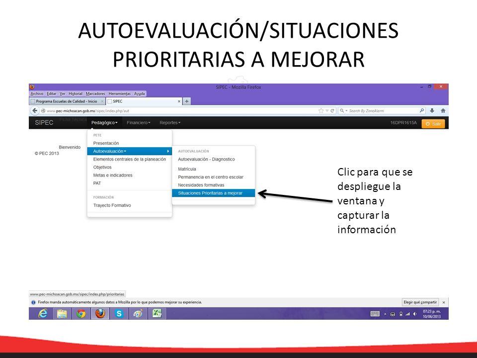 Clic para que se despliegue la ventana y capturar la información AUTOEVALUACIÓN/SITUACIONES PRIORITARIAS A MEJORAR