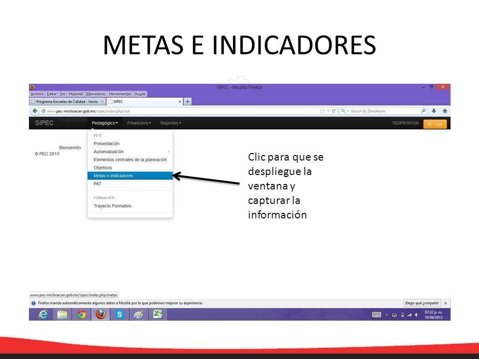 METAS E INDICADORES Clic para que se despliegue la ventana y capturar la información