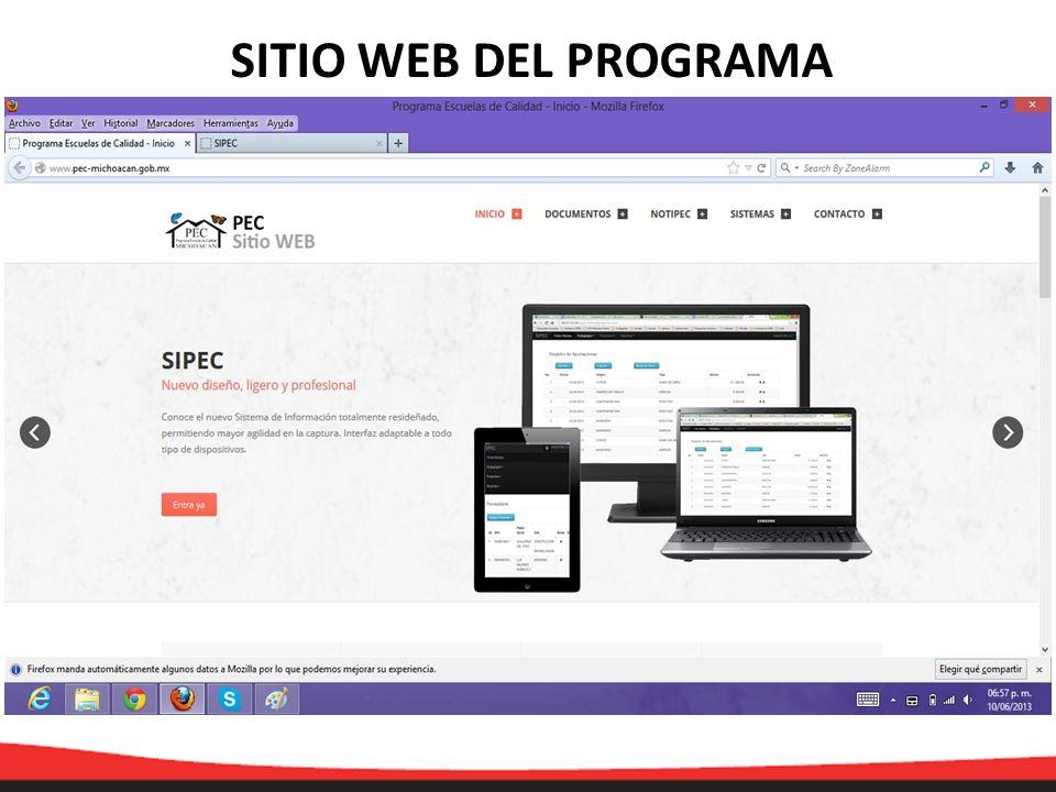 BARRA DE MENU Dar clic en sistema para abrir la ventana de Sipec ACCESANDO AL SIPEC