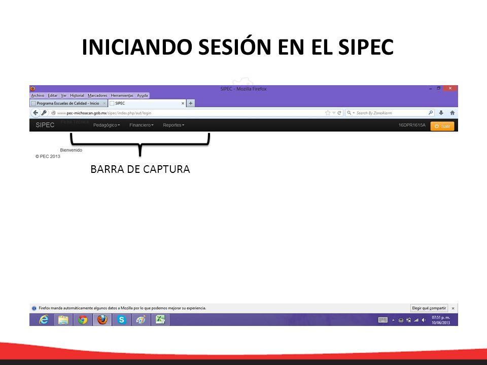 BARRA DE CAPTURA INICIANDO SESIÓN EN EL SIPEC