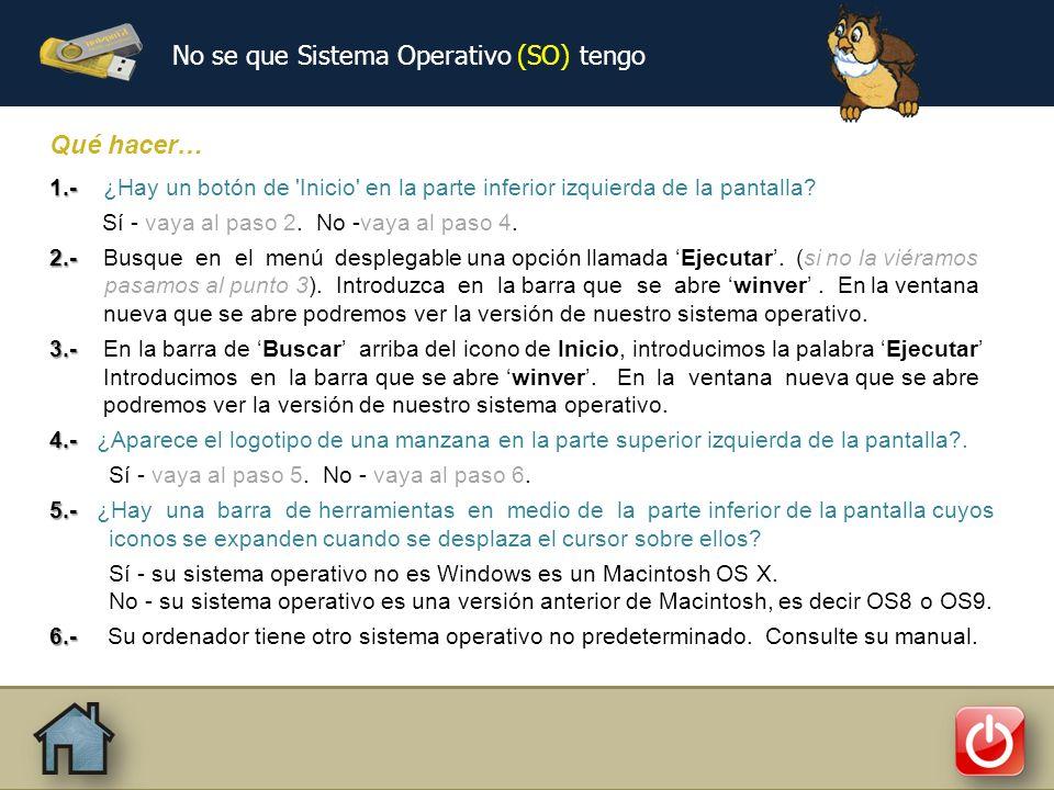 No se que Sistema Operativo (SO) tengo Qué hacer… 1.- 1.- ¿Hay un botón de Inicio en la parte inferior izquierda de la pantalla.