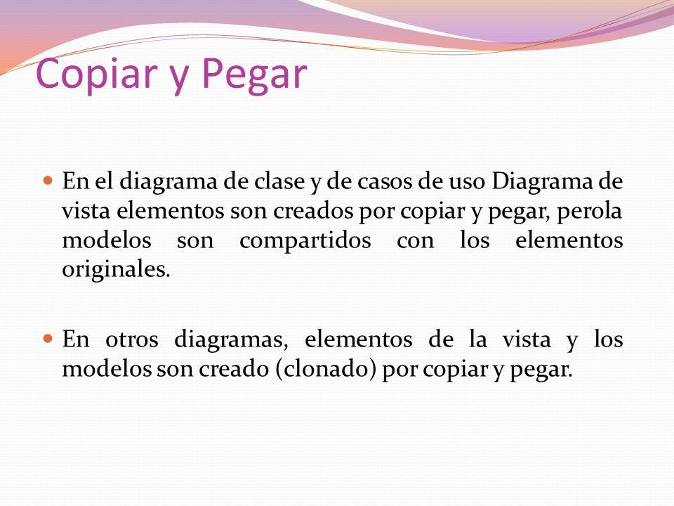 Copiar y Pegar En el diagrama de clase y de casos de uso Diagrama de vista elementos son creados por copiar y pegar, perola modelos son compartidos con los elementos originales.