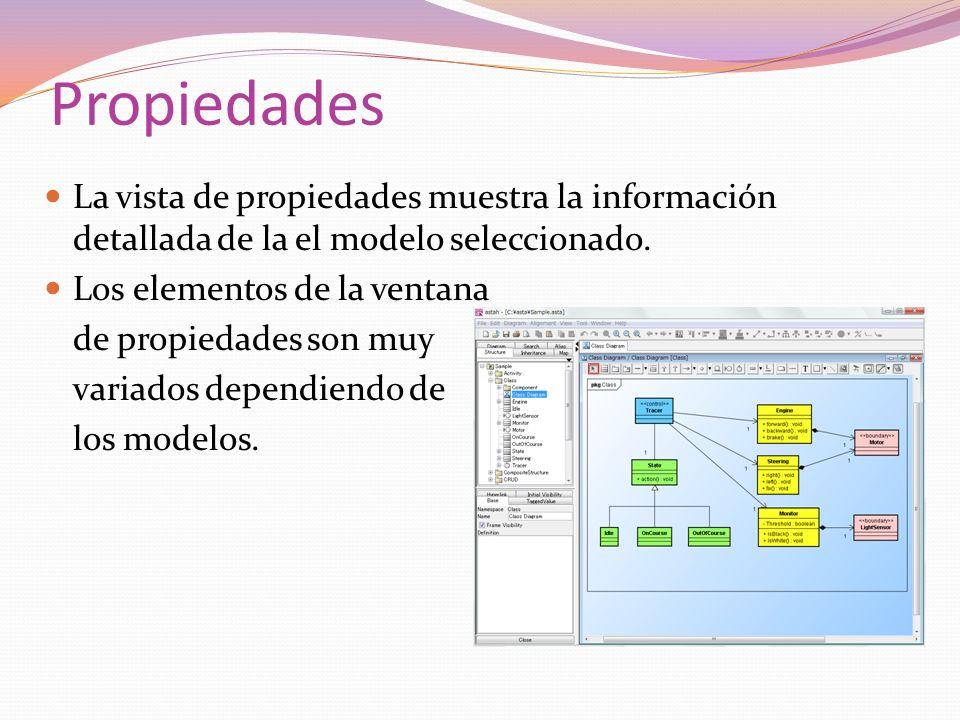 Propiedades La vista de propiedades muestra la información detallada de la el modelo seleccionado. Los elementos de la ventana de propiedades son muy