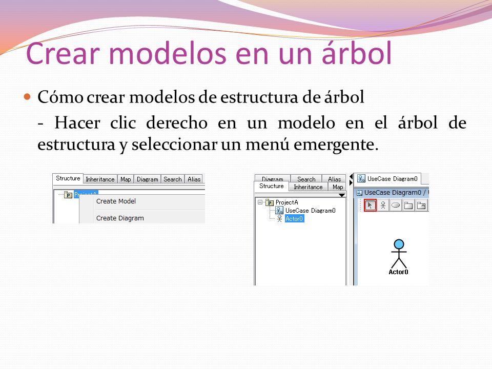 Crear modelos en un árbol Cómo crear modelos de estructura de árbol - Hacer clic derecho en un modelo en el árbol de estructura y seleccionar un menú