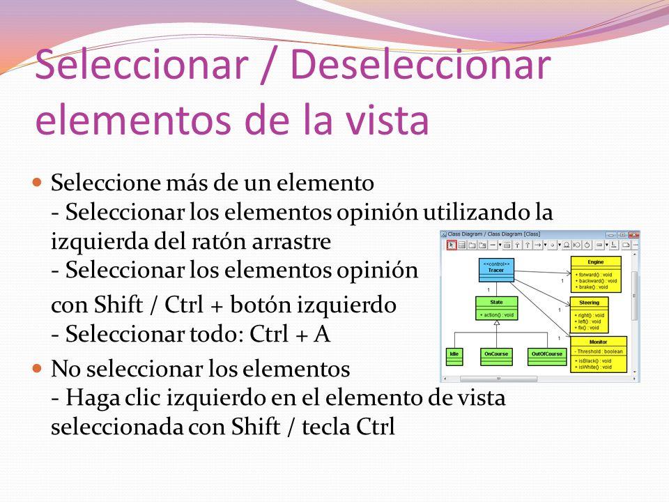 Seleccionar / Deseleccionar elementos de la vista Seleccione más de un elemento - Seleccionar los elementos opinión utilizando la izquierda del ratón arrastre - Seleccionar los elementos opinión con Shift / Ctrl + botón izquierdo - Seleccionar todo: Ctrl + A No seleccionar los elementos - Haga clic izquierdo en el elemento de vista seleccionada con Shift / tecla Ctrl
