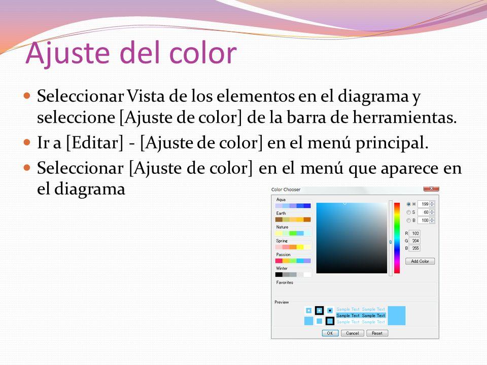 Ajuste del color Seleccionar Vista de los elementos en el diagrama y seleccione [Ajuste de color] de la barra de herramientas. Ir a [Editar] - [Ajuste