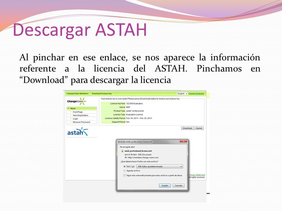 Descargar ASTAH Al pinchar en ese enlace, se nos aparece la información referente a la licencia del ASTAH.