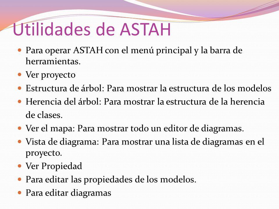 Utilidades de ASTAH Para operar ASTAH con el menú principal y la barra de herramientas. Ver proyecto Estructura de árbol: Para mostrar la estructura d