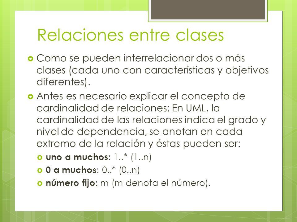 Relaciones entre clases Como se pueden interrelacionar dos o más clases (cada uno con características y objetivos diferentes). Antes es necesario expl