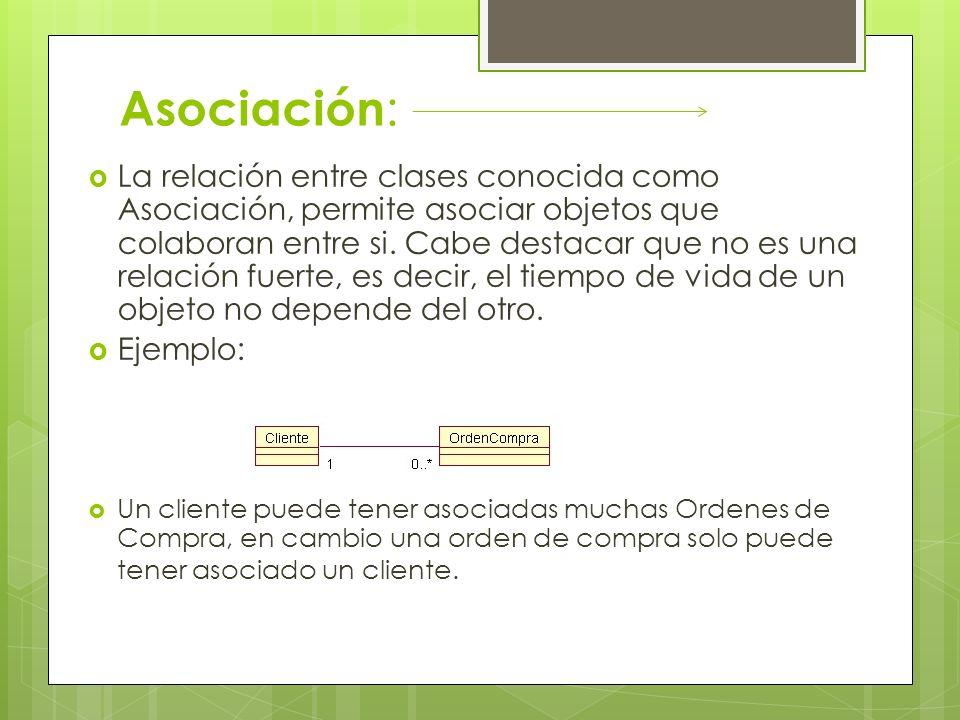 Asociación : La relación entre clases conocida como Asociación, permite asociar objetos que colaboran entre si. Cabe destacar que no es una relación f