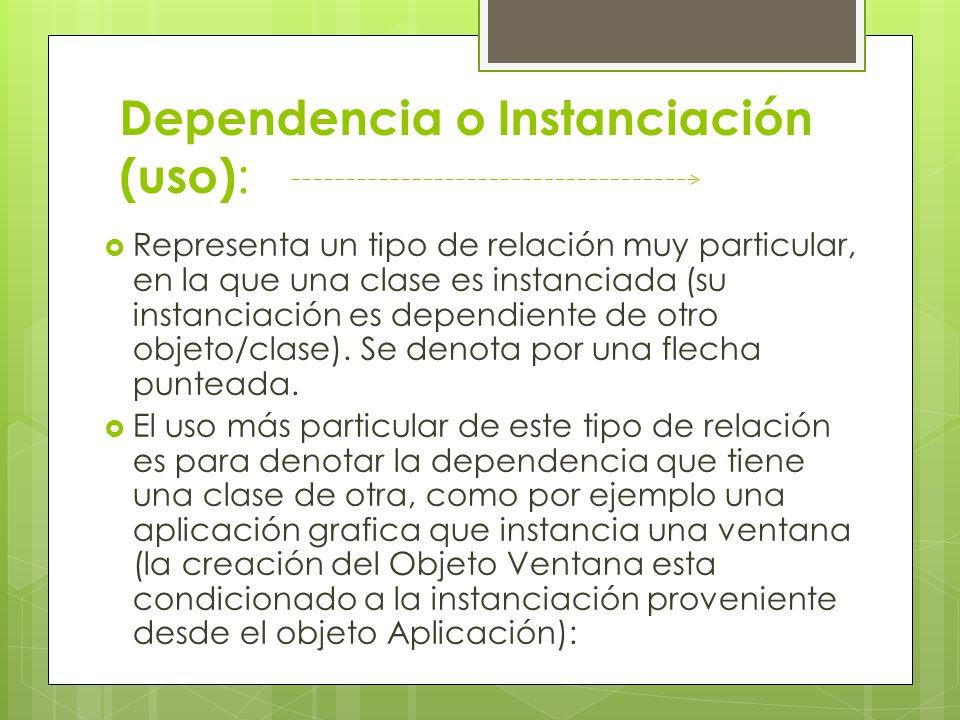 Dependencia o Instanciación (uso) : Representa un tipo de relación muy particular, en la que una clase es instanciada (su instanciación es dependiente