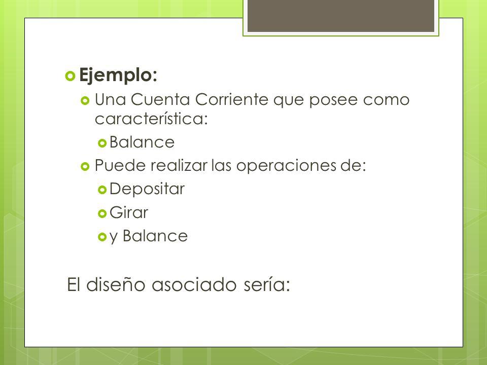 Ejemplo: Una Cuenta Corriente que posee como característica: Balance Puede realizar las operaciones de: Depositar Girar y Balance El diseño asociado s