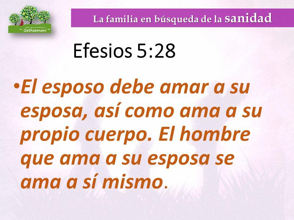 Efesios 5:28 El esposo debe amar a su esposa, así como ama a su propio cuerpo.