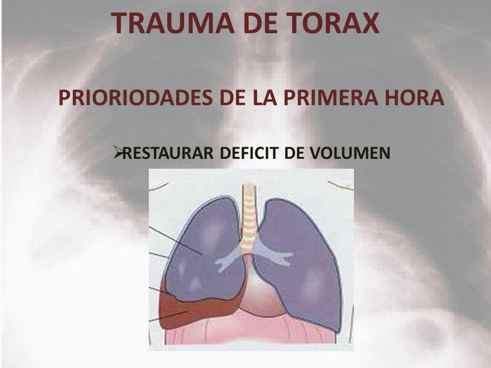 TRAUMA DE TORAX PRIORIODADES DE LA PRIMERA HORA RESTAURAR DEFICIT DE VOLUMEN