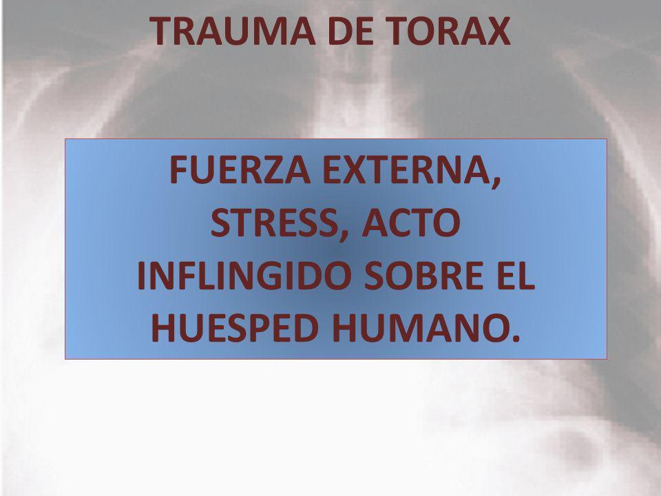 TRAUMA DE TORAX FUERZA EXTERNA, STRESS, ACTO INFLINGIDO SOBRE EL HUESPED HUMANO.