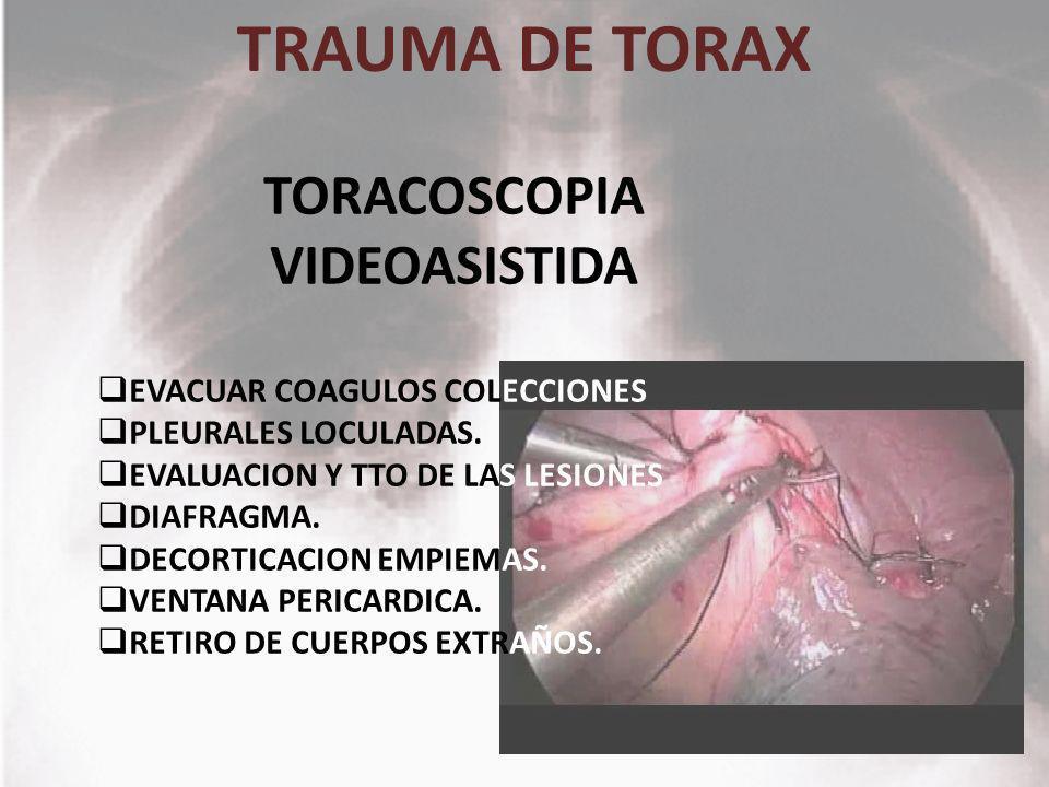TRAUMA DE TORAX TORACOSCOPIA VIDEOASISTIDA EVACUAR COAGULOS COLECCIONES PLEURALES LOCULADAS. EVALUACION Y TTO DE LAS LESIONES DIAFRAGMA. DECORTICACION