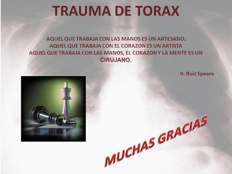TRAUMA DE TORAX AQUEL QUE TRABAJA CON LAS MANOS ES UN ARTESANO. AQUEL QUE TRABAJA CON EL CORAZON ES UN ARTISTA AQUEL QUE TRABAJA CON LAS MANOS, EL COR