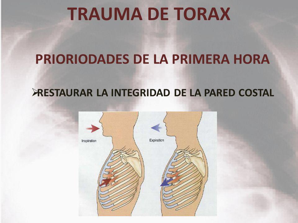 TRAUMA DE TORAX PRIORIODADES DE LA PRIMERA HORA RESTAURAR LA INTEGRIDAD DE LA PARED COSTAL