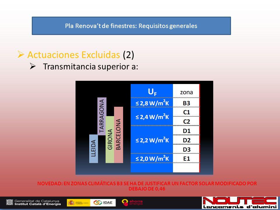 Actuaciones Excluidas (2) Transmitancia superior a: NOVEDAD: EN ZONAS CLIMÁTICAS B3 SE HA DE JUSTIFICAR UN FACTOR SOLAR MODIFICADO POR DEBAJO DE 0,46 Pla Renovat de finestres: Requisitos generales