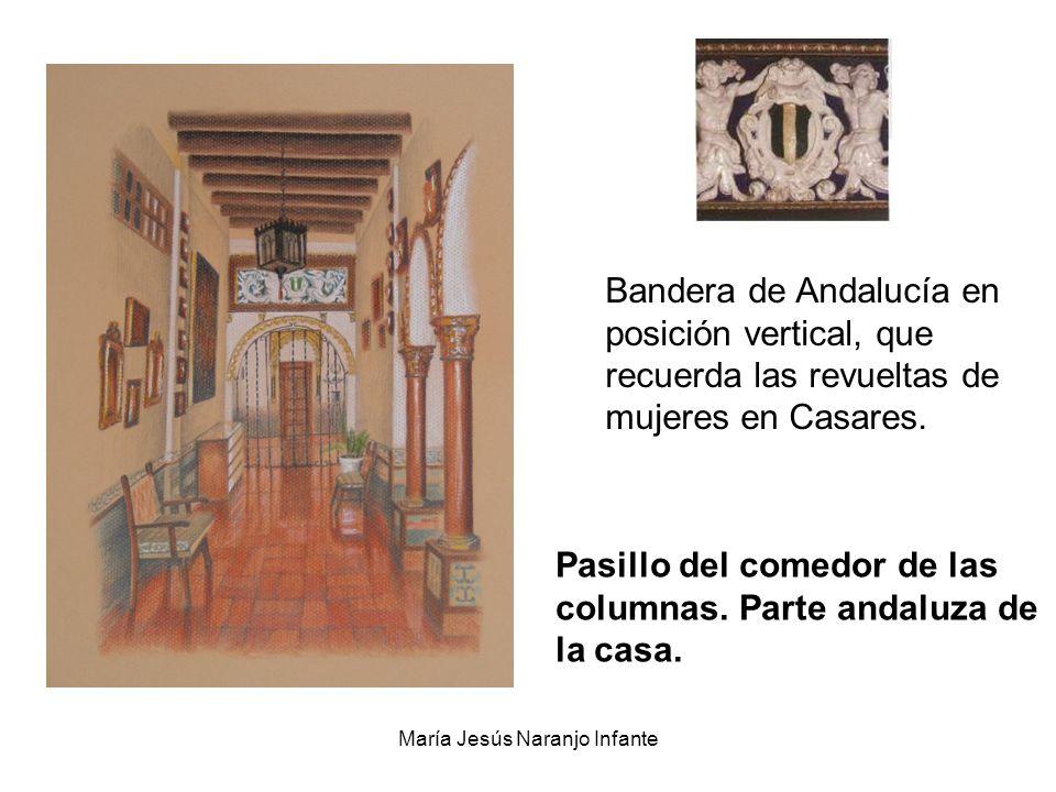 María Jesús Naranjo Infante Pasillo del comedor de las columnas. Parte andaluza de la casa. Bandera de Andalucía en posición vertical, que recuerda la