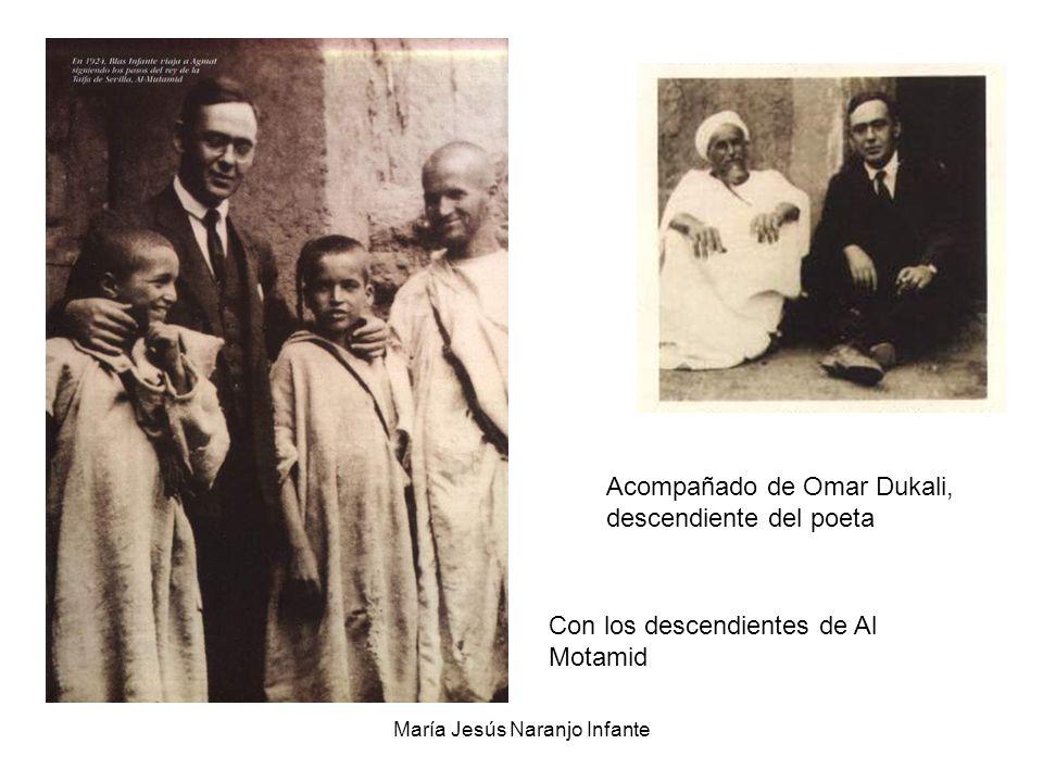 María Jesús Naranjo Infante Con los descendientes de Al Motamid Acompañado de Omar Dukali, descendiente del poeta