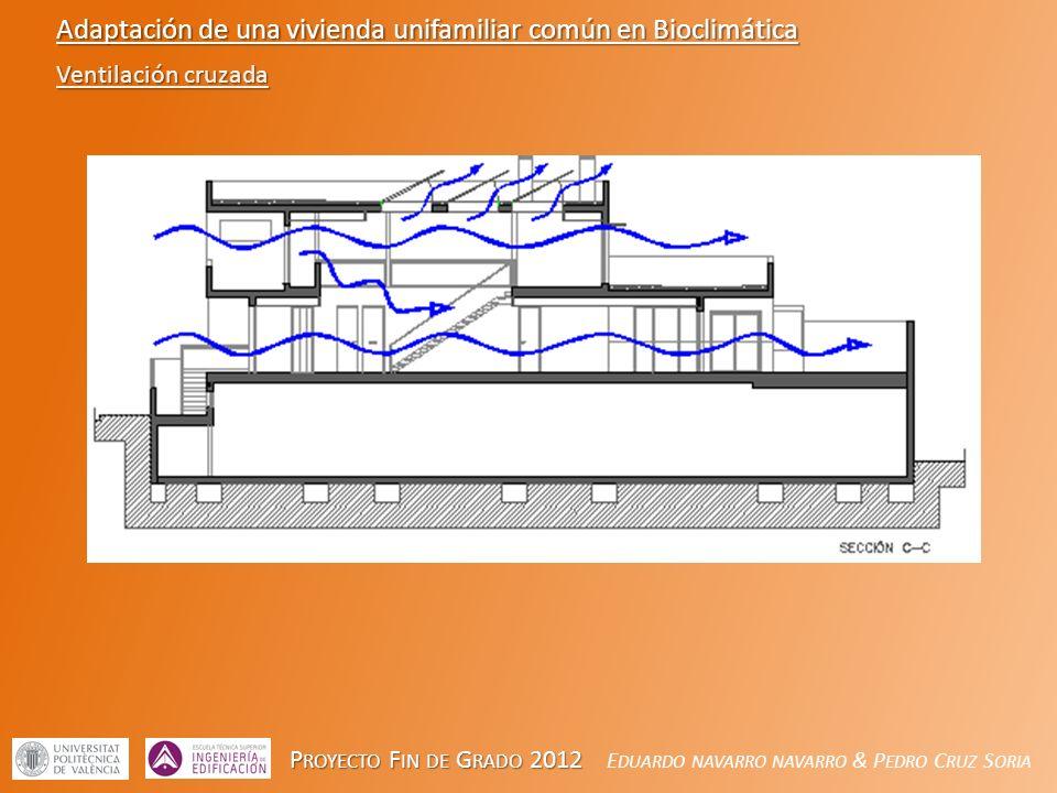 P ROYECTO F IN DE G RADO 2012 P ROYECTO F IN DE G RADO 2012 E DUARDO NAVARRO NAVARRO & P EDRO C RUZ S ORIA Adaptación de una vivienda unifamiliar común en Bioclimática Ventilación cruzada