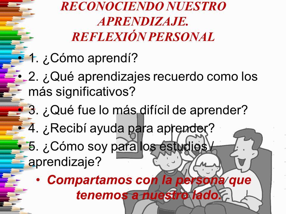 RECONOCIENDO NUESTRO APRENDIZAJE. REFLEXIÓN PERSONAL 1. ¿Cómo aprendí? 2. ¿Qué aprendizajes recuerdo como los más significativos? 3. ¿Qué fue lo más d
