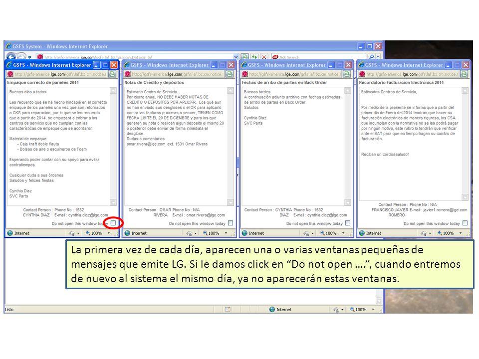La primera vez de cada día, aparecen una o varias ventanas pequeñas de mensajes que emite LG.