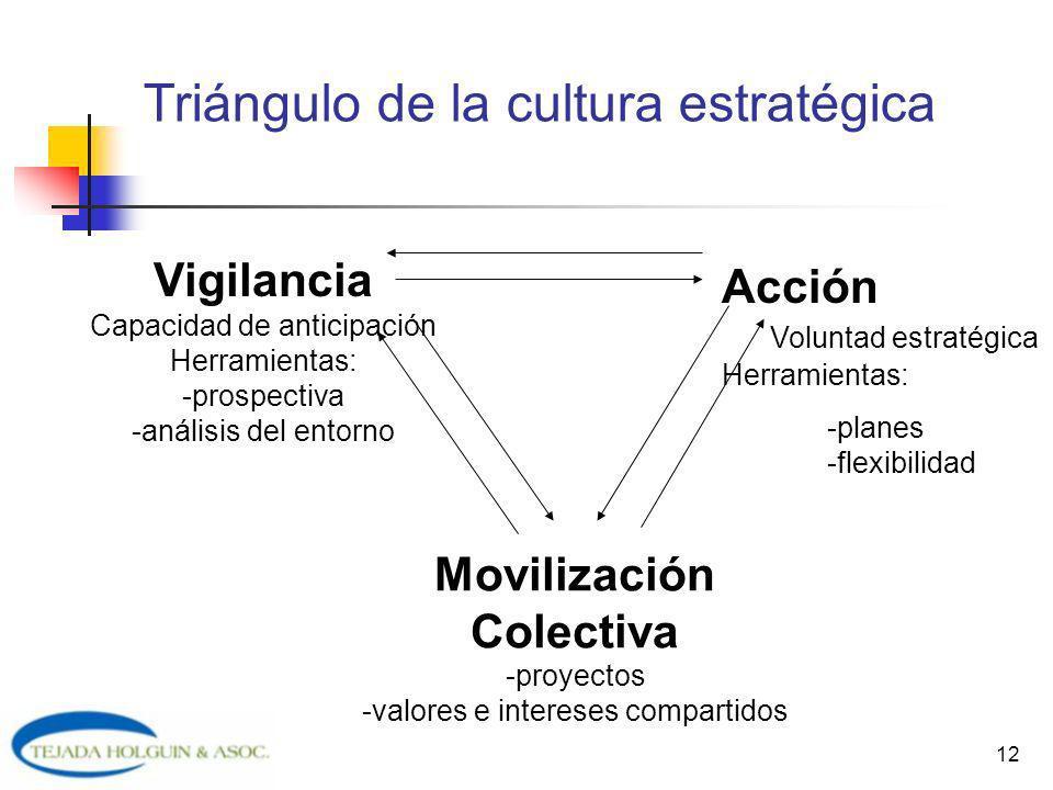 12 Triángulo de la cultura estratégica Vigilancia Capacidad de anticipación Herramientas: -prospectiva -análisis del entorno Acción Voluntad estratégi