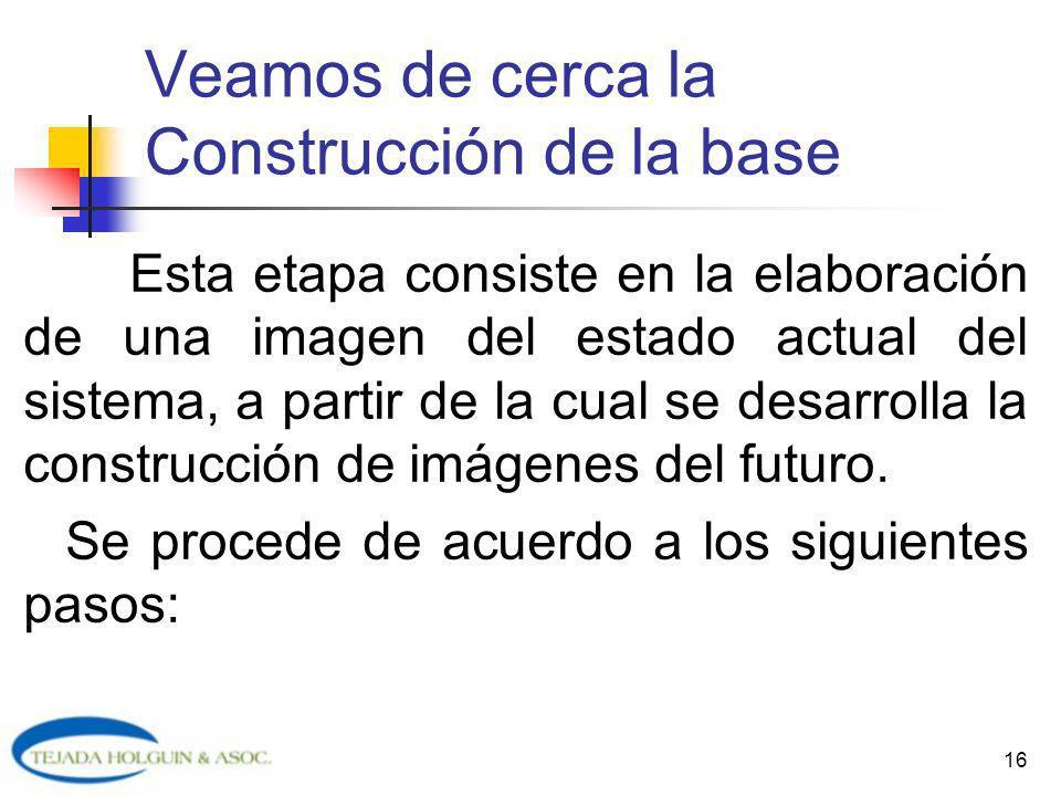 16 Veamos de cerca la Construcción de la base Esta etapa consiste en la elaboración de una imagen del estado actual del sistema, a partir de la cual s