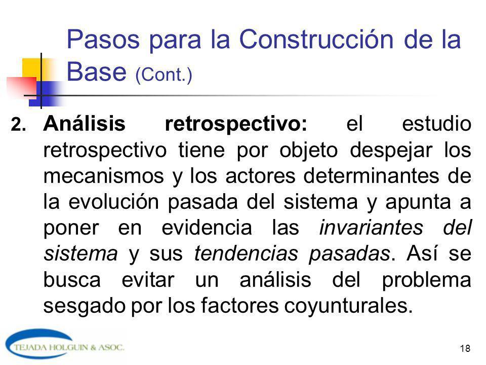 18 Pasos para la Construcción de la Base (Cont.) 2. Análisis retrospectivo: el estudio retrospectivo tiene por objeto despejar los mecanismos y los ac
