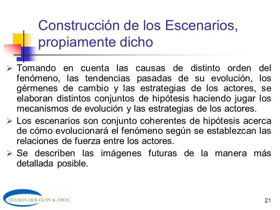 21 Construcción de los Escenarios, propiamente dicho Tomando en cuenta las causas de distinto orden del fenómeno, las tendencias pasadas de su evoluci