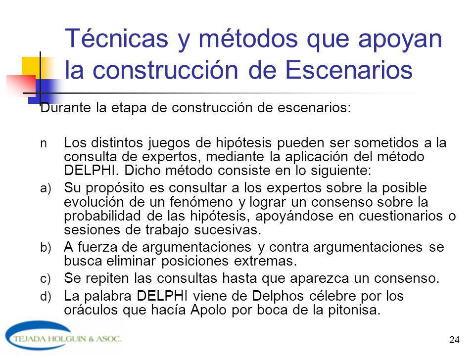 24 Durante la etapa de construcción de escenarios: n Los distintos juegos de hipótesis pueden ser sometidos a la consulta de expertos, mediante la apl