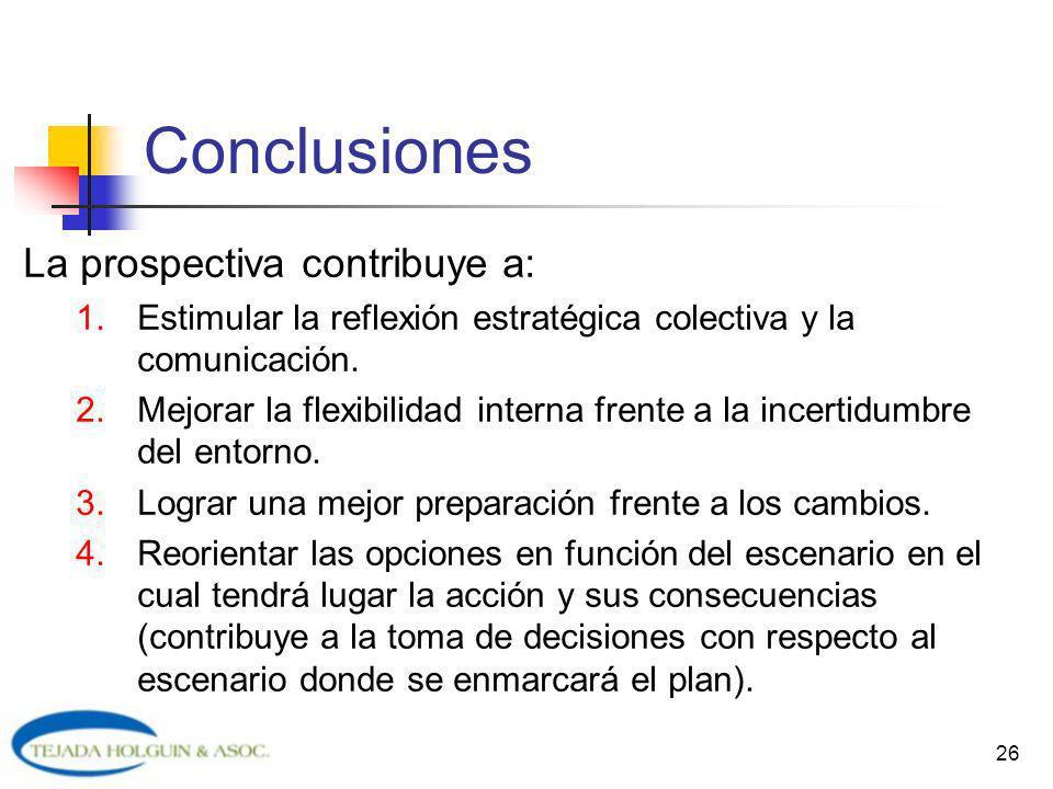 26 Conclusiones La prospectiva contribuye a: 1.Estimular la reflexión estratégica colectiva y la comunicación. 2.Mejorar la flexibilidad interna frent