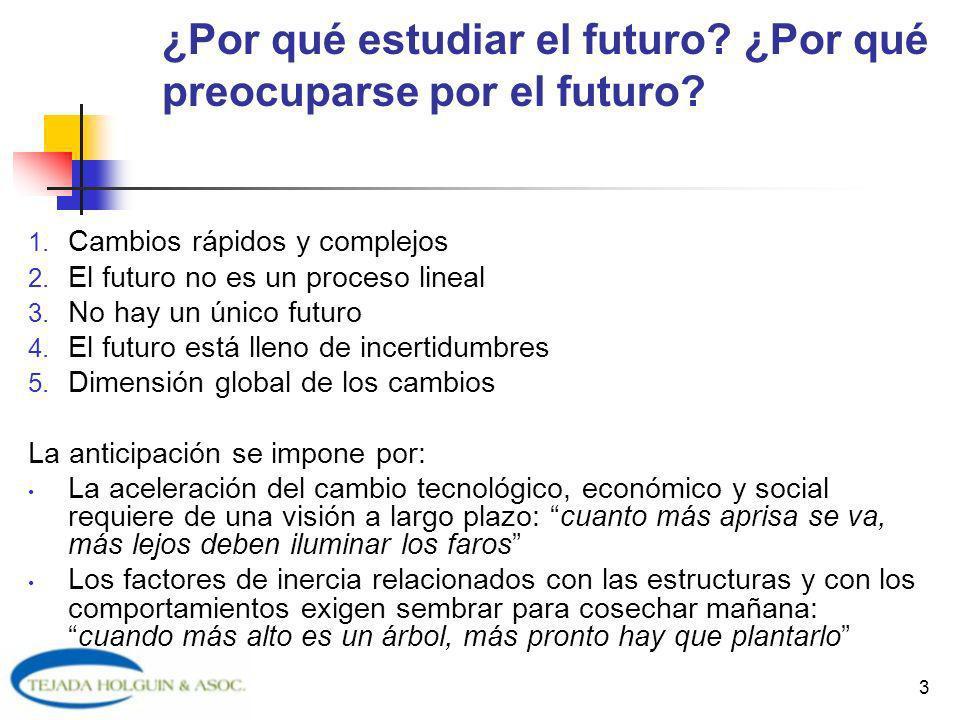 3 ¿Por qué estudiar el futuro? ¿Por qué preocuparse por el futuro? 1. Cambios rápidos y complejos 2. El futuro no es un proceso lineal 3. No hay un ún