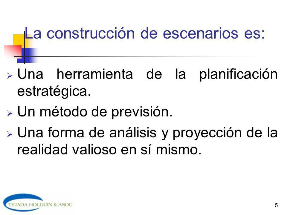 5 La construcción de escenarios es: Una herramienta de la planificación estratégica. Un método de previsión. Una forma de análisis y proyección de la