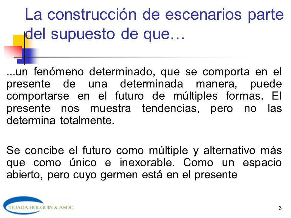 6 La construcción de escenarios parte del supuesto de que…...un fenómeno determinado, que se comporta en el presente de una determinada manera, puede