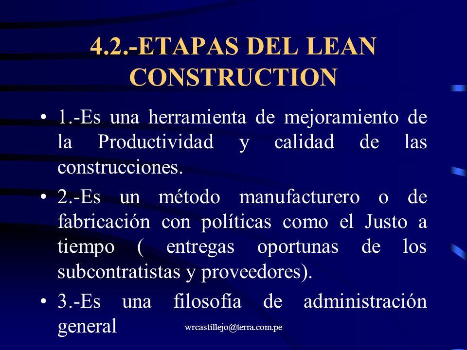 wrcastillejo@terra.com.pe 4.2.-ETAPAS DEL LEAN CONSTRUCTION 1.-Es una herramienta de mejoramiento de la Productividad y calidad de las construcciones.