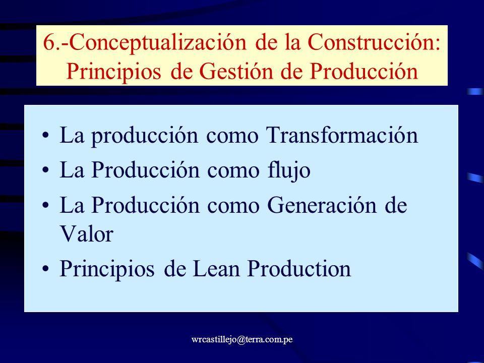 wrcastillejo@terra.com.pe 6.-Conceptualización de la Construcción: Principios de Gestión de Producción La producción como Transformación La Producción