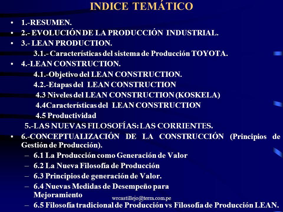 wrcastillejo@terra.com.pe INDICE TEMÁTICO 1.-RESUMEN. 2.- EVOLUCIÓN DE LA PRODUCCIÓN INDUSTRIAL. 3.- LEAN PRODUCTION. 3.1.- Características del sistem