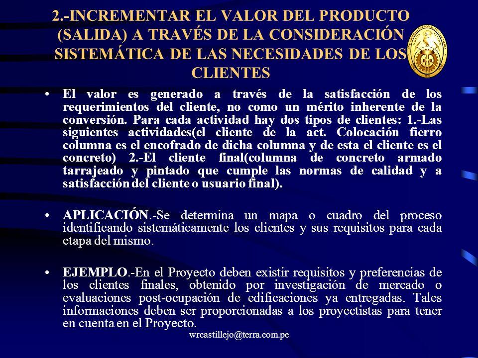 wrcastillejo@terra.com.pe 2.-INCREMENTAR EL VALOR DEL PRODUCTO (SALIDA) A TRAVÉS DE LA CONSIDERACIÓN SISTEMÁTICA DE LAS NECESIDADES DE LOS CLIENTES El