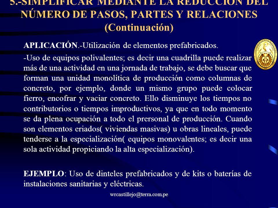 wrcastillejo@terra.com.pe 5.-SIMPLIFICAR MEDIANTE LA REDUCCIÓN DEL NÚMERO DE PASOS, PARTES Y RELACIONES (Continuación) APLICACIÓN.-Utilización de elem