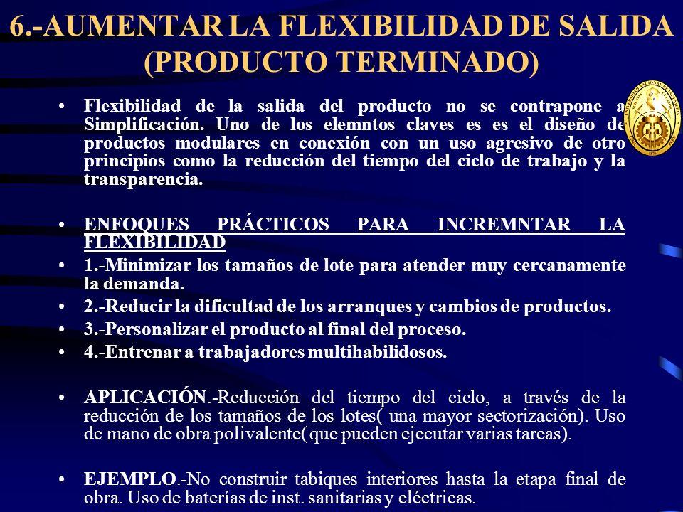 6.-AUMENTAR LA FLEXIBILIDAD DE SALIDA (PRODUCTO TERMINADO) Flexibilidad de la salida del producto no se contrapone a Simplificación. Uno de los elemnt