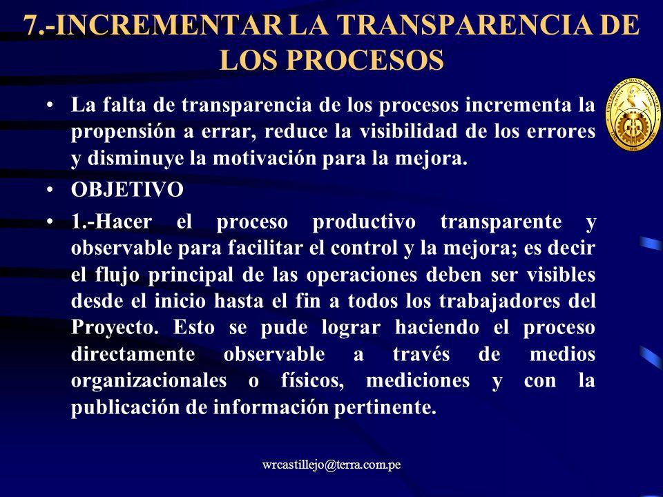wrcastillejo@terra.com.pe 7.-INCREMENTAR LA TRANSPARENCIA DE LOS PROCESOS La falta de transparencia de los procesos incrementa la propensión a errar,