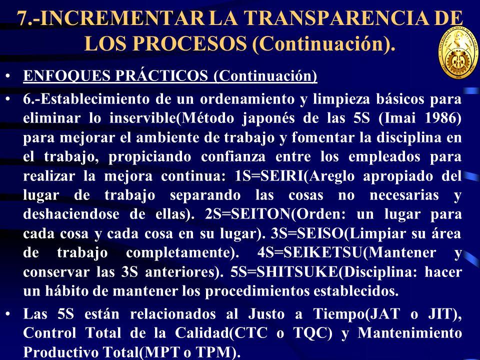 7.-INCREMENTAR LA TRANSPARENCIA DE LOS PROCESOS (Continuación). ENFOQUES PRÁCTICOS (Continuación) 6.-Establecimiento de un ordenamiento y limpieza bás