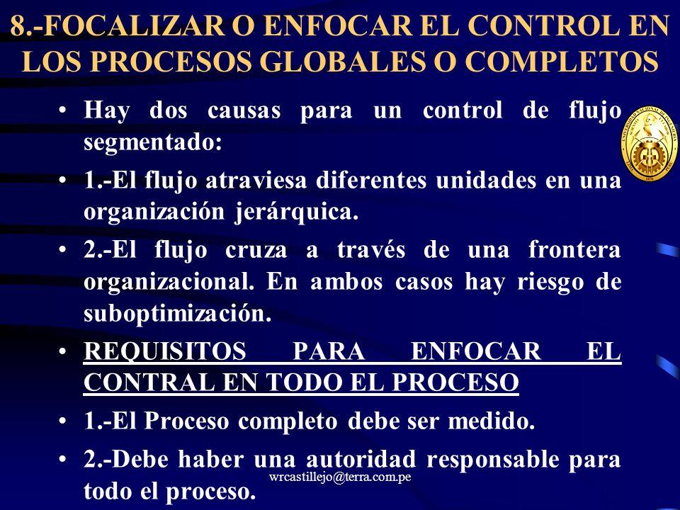 wrcastillejo@terra.com.pe 8.-FOCALIZAR O ENFOCAR EL CONTROL EN LOS PROCESOS GLOBALES O COMPLETOS Hay dos causas para un control de flujo segmentado: 1